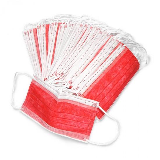 Защитные маски для мастеров маникюра, красные, 50 шт