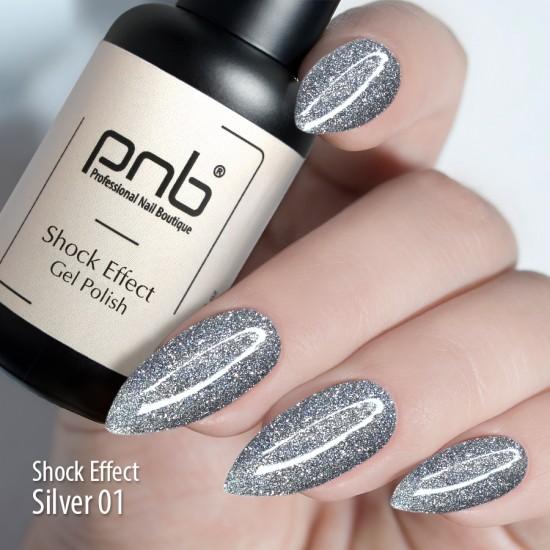 Гель лак PNB Shock Effect, Silver 01