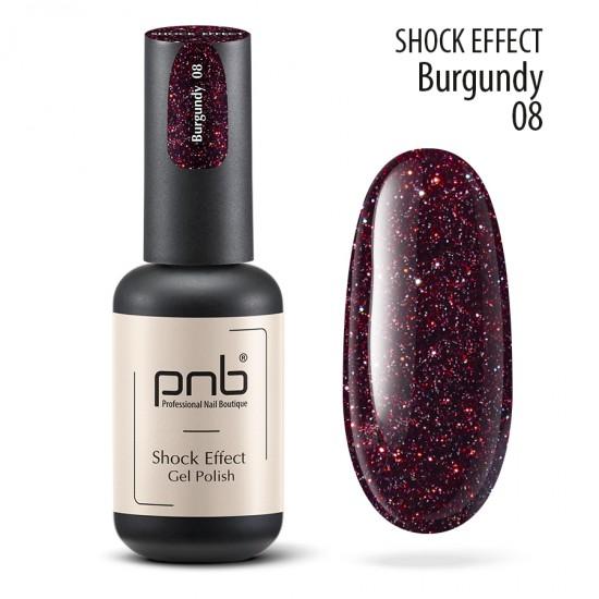 Гель лак PNB Shock Effect, Burgundy 08